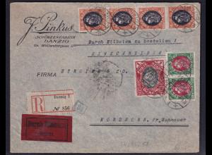 Danzig, R-Eilbote-Fernbrief mit MiF. Mi.-Nr. 4x54, 2x55, 58