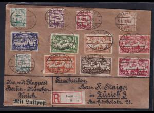 Danzig, R-Luftpost-Auslandbrief mit Mi.-Nr. 112-118, 133-137