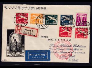 Danzig, Zepp-Brief mit Mi.-Nr. 251-255 Nordamerikafahrt, Si. 406 c