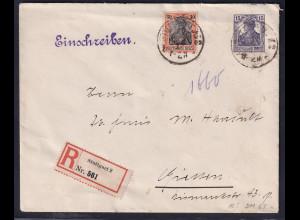 DR.,Ganzsache-Umschlag 15 Pf. Germania + Mi-Nr. 89 als R-Brief gelaufen