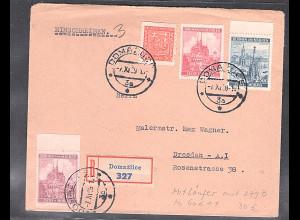B&M R-Brief nach Dresden mit Mitläufer Mi.-Nr. 279 B