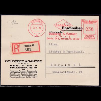 DR. Reklame-Karte, R-Ortskarte mit Freistempel Goldberg & Sander Berlin
