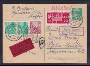 DDR. Ganzsache P 68 als Eilbote-Fern-Karte gelaufen.