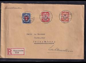 Danzig, R-Auslandbrief mit MiF, Mi.-Nr. 220, 222,228 , Ak-St.