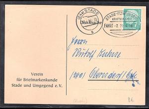 Bund Fern-Karte mit Mi.-Nr. 181 mit Kraftkurspost/Bus-Post.