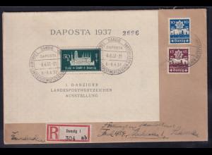 Danzig, R-Auslandbrief mit MiF, Mi.-Nr. Block 1, 267.268