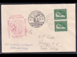 Zeppelin-Brief Fahrt nach Leipzig 1939 mit MeF. Mi.-Nr. 670