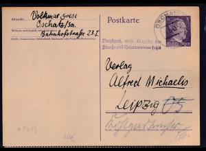 DR. Ganzsache Mi.-Nr. P 299 gestempelt.