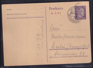 DR. Ganzsache Mi.-Nr. P 299 gestempelt. von Leipzig 03.03.45