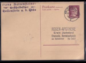 DR. Ganzsache P 303 F gestempelt.