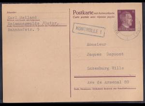 DR. Ganzsache P 300 F als Auslandkarte gelaufen, zensiert.
