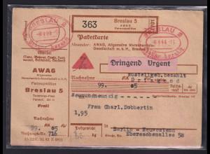 DR., NN-Paketkarte mit Gebühr bezahlt aus Breslau 2 nach Berlin
