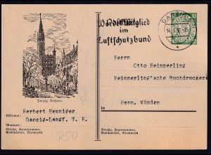 Danzig, Ganzsache Mi.-Nr. P 50,Rathaus gelaufen