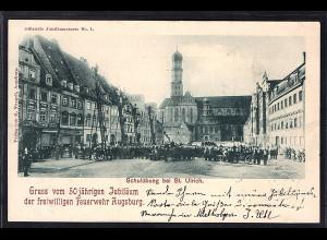Bayern, Privatganzsache PP15-C18, Jubiläum der freiwilligen Feuerwehr Augsburg.