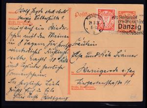 Danzig, Ganzsache Mi.-Nr. P 41 gestempelt.