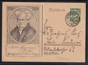 Danzig, Ganzsache Mi.-Nr. P 48/ 03, Schopenhauer, gestempelt.