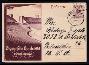 DR, Ganzsache P 260, Olympische Spiele Berlin 1936, nach USA gelaufen