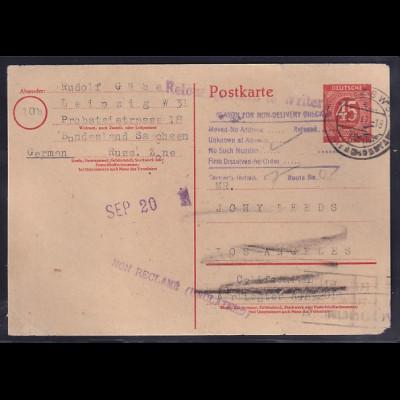 """Gemeinschaftausgaben, Ganzsache Mi.-Nr. P 955 gelaufen nach USA., """"zurück"""""""