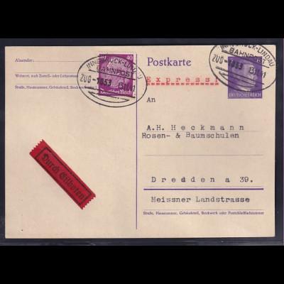 DR., Ganzsache Mi.-Nr., P 299 I, als Eilbote Fernkarte mit Bahnpost gelaufen.