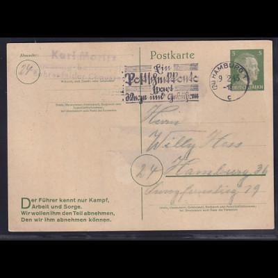 DR., Ganzsache Mi.-Nr. P 311/09 als Ortskarte von 09.02.45 gelaufen