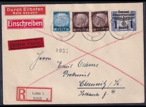 GG., R-Eilbote-Fernbrief mit Mi.-Nr. 5,8,27