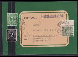 SBZ, Fernkarte mit MiF. Mi.-Nr. 75 X u.a.