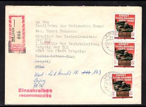 DDR. R-Brief mit MeF.. Mi.-Nr. 3014