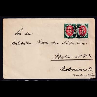 DR.,Ortsbrief mit MeF, Mi.-Nr. 109