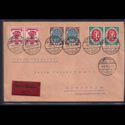 DR.,Eilbote-Luftpostbrief mit MiF, Mi.-Nr. 107-109