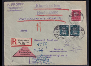 DR.,R-NN-Fernbrief mit MiF, Mi.-Nr. 390 + 392