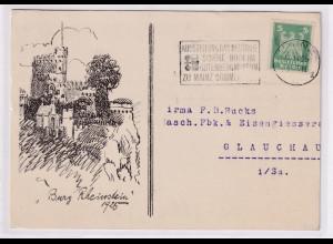DR.,Mi.-Nr. 356 EF. auf Burg Rheinstein-Karte