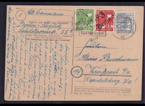 SBZ, Hand-St. Fernkarte mit MiF. Mi.-Nr. 947 + 168,169, Ak-St.