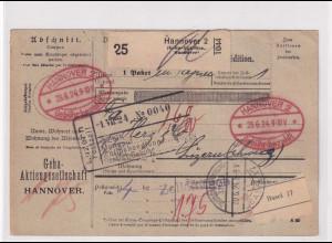 DR., Ausland-Paketkarte mit Gebühr bezahlt aus Hannover/Selbstbucher