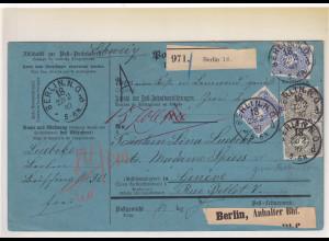 DR., Ausland-Paketkarte mit MiF Mi.-Nr. 42 + 44 aus Berlin