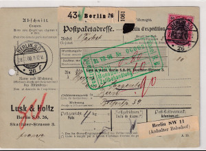 DR., Ausland-Paketkarte,mit EF Mi.-Nr. 93 I aus Berlin