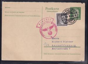 DR, Ganzsache Mi-Nr. P 301 A, gelaufen aus Lettland, Zensiert.