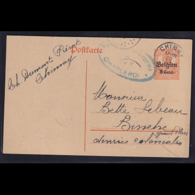 Besetzung 1 Weltkrieg, Belgien Ganzsache Mi-Nr. P 10 Bedarf gelaufen
