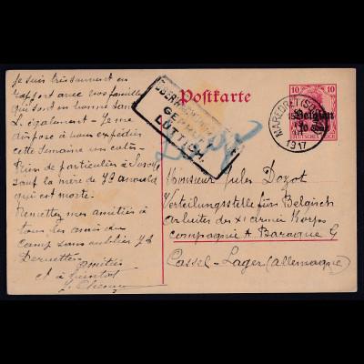 Besetzung 1 Weltkrieg, Belgien Ganzsache Mi-Nr. P 7 Bedarf gelaufen