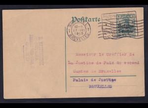 Besetzung 1 Weltkrieg, Belgien Ganzsache Mi-Nr. P 1 Bedarf gelaufen