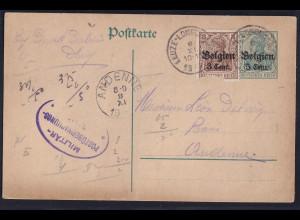 Besetzung 1 Weltkrieg, Belgien Ganzsache Mi-Nr. P 9 Bedarf gelaufen
