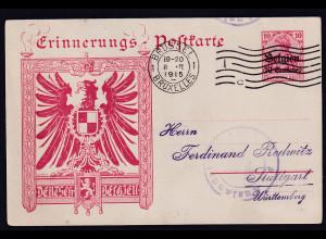 Besetzung 1 Weltkrieg, Belgien Privat Ganzsache PP3/E1 gestempelt.