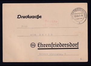 DR., Drucksache mit gebühr bezahlt aus Ehrenfriedersdorf