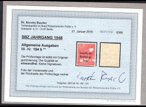 SBZ., Mi.-Nr. 184 b, postfrisch, Befund Dr.RuscherBPP.