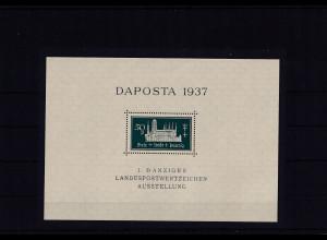 Danzig, Daposta 1937 Mi.-Nr. Block 1 b postfrisch, sign. GruberBPP.