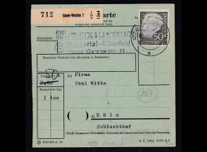 Bund., Paketkarte mit EF MI.-Nr. 189