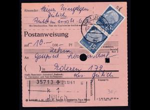Bund, Postanweisung mit MeF MI.-Nr. 184