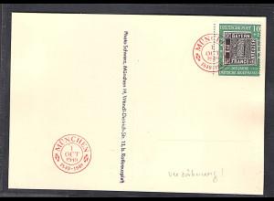 Bund. Mi.-Nr. 113 Verzähnung auf Karte 100 Jahre Deutsche Briefmarke.