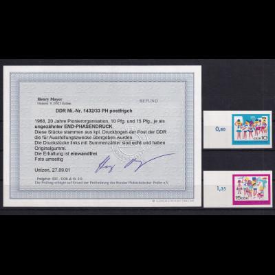DDR., Mi.-Nr. 1432-33 U als End-Phasendruck, postfrisch, Befund Mayer