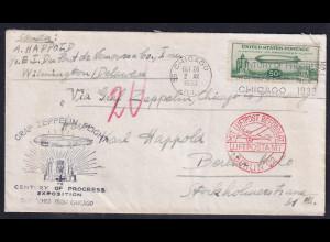 Zeppelin-Brief, USA - 1933 von Chicago nach Friedrichshafen mit Mi.-Nr.358