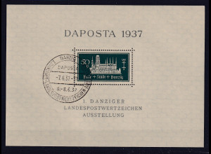 Danzig, Daposta 1937 Mi.-Nr. Block 1 a gestempelt, sign. TworekBPP.